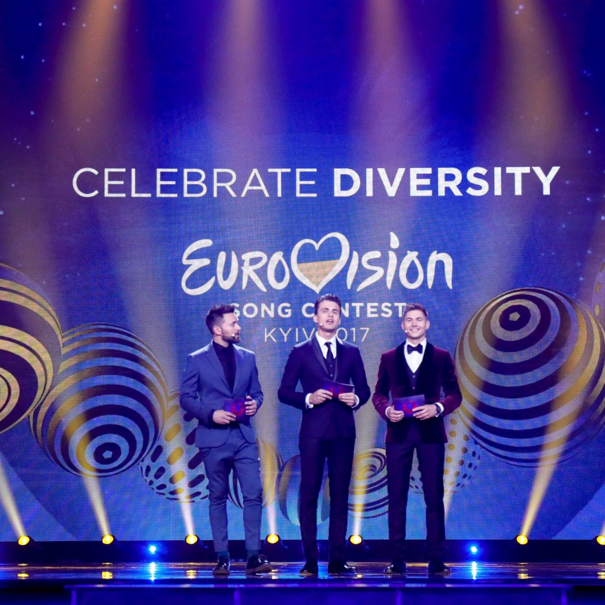 Photo: Andres Putting. The hosts of the 2017 Eurovision Song Contest; Timur Miroshnychenko, Oleksandr Skichko and Volodymyr Ostapchuk.