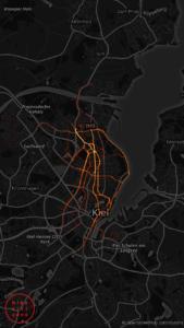 """Hauke sin heatmap uun Kiel, so üüs at app """"Bike Citzens"""" det ütjden hee"""