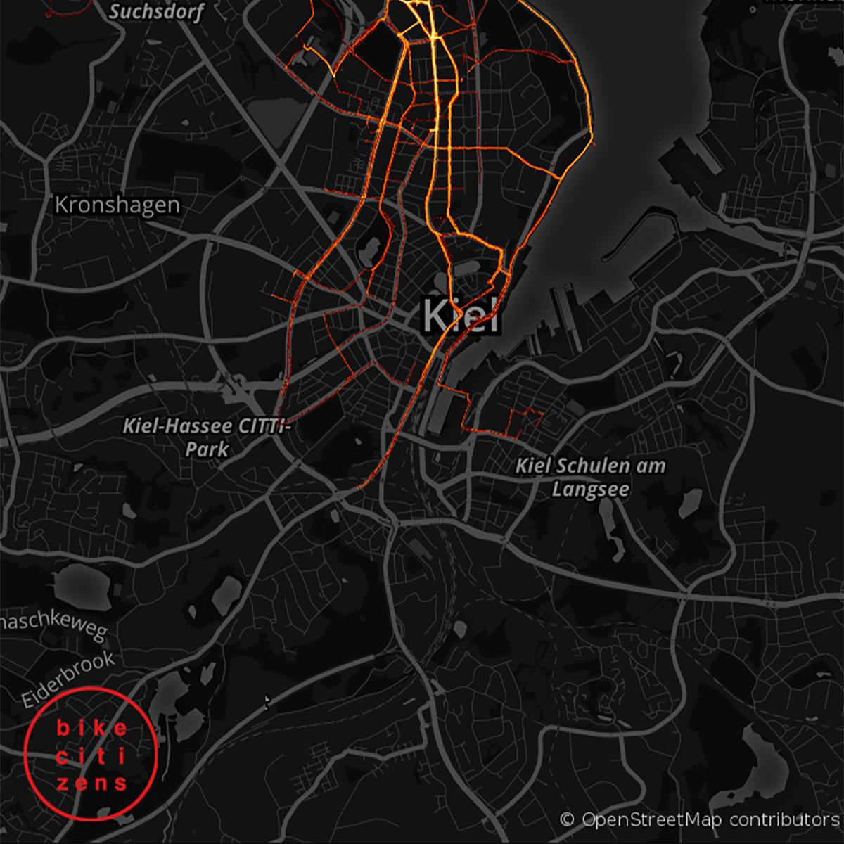 """Hauke sin heatmap uun Kiel, so üüs at app """"Bike Citzens"""" det ütjden hee – nian hiamelkhaiden heer (app export)"""